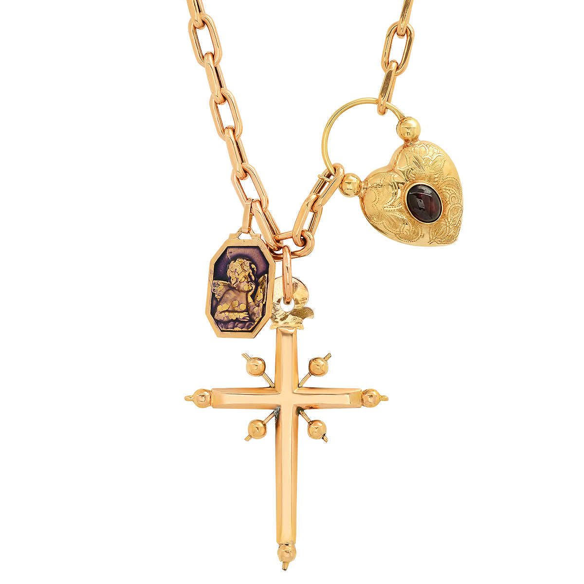 Cross and Locket Necklace