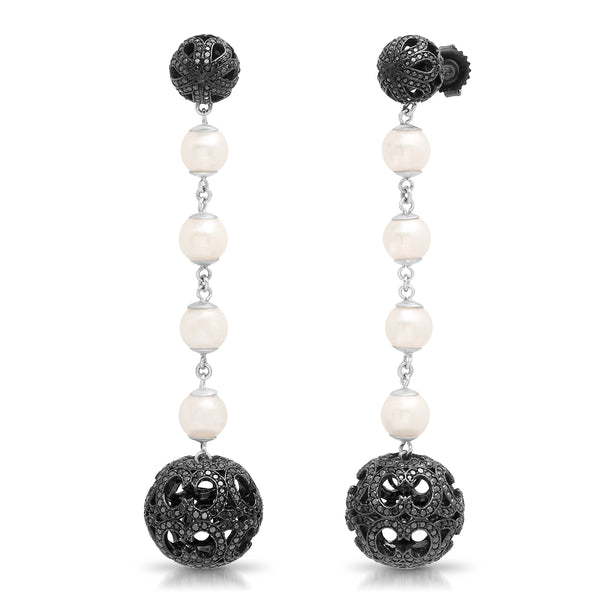Ball and Pearl Earrings