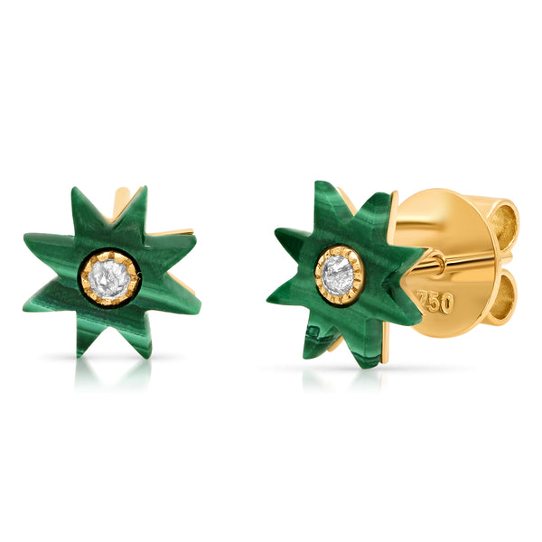 Malachite Star Studs