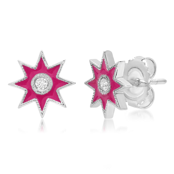 Twinkle Star Studs White Gold - Seven Colors