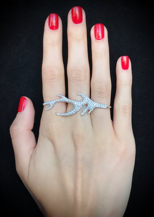 Adorned Louviers Three Finger Ring