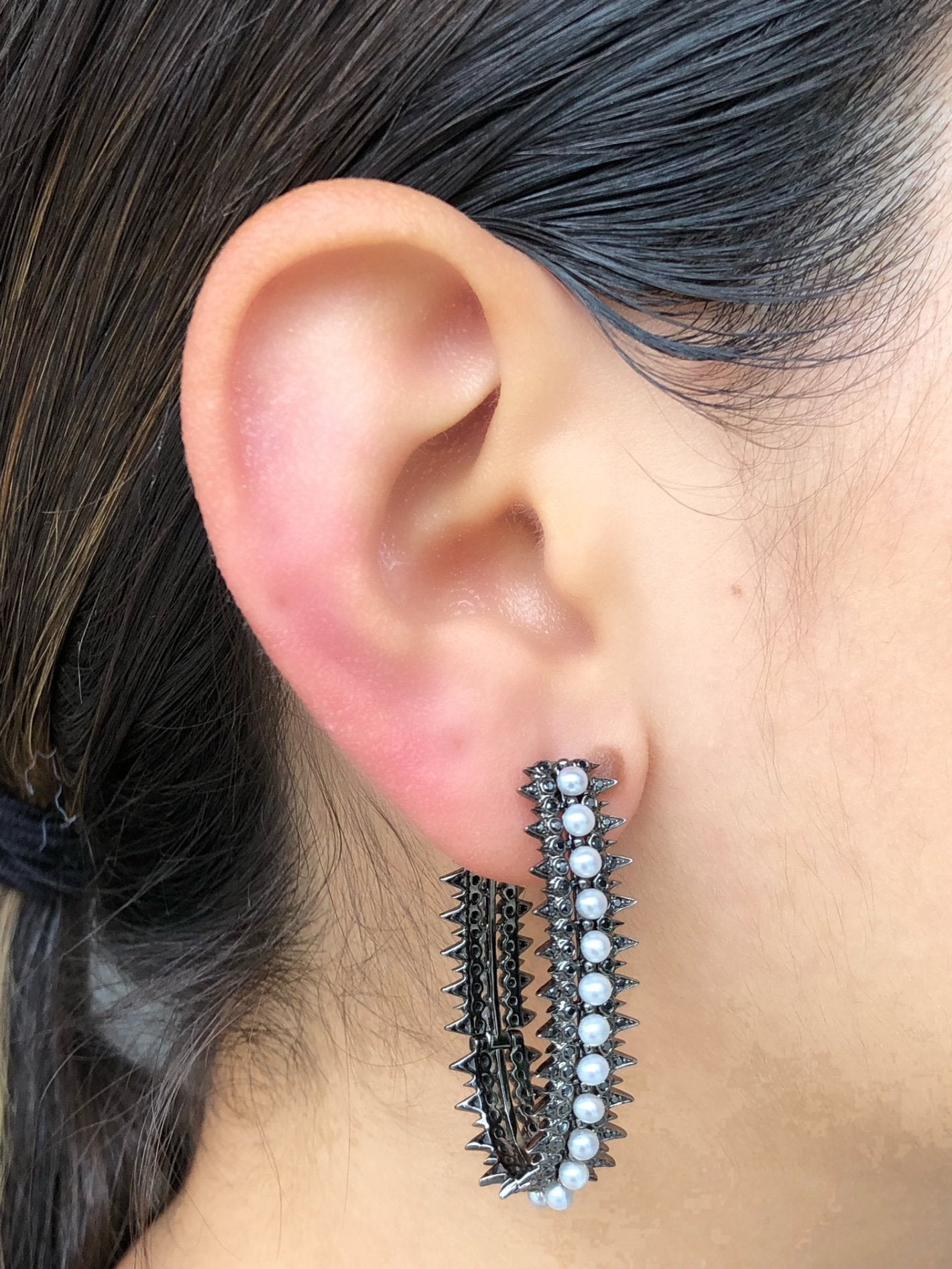 Spike Hoop Pearl Earrings