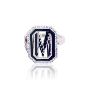 Gatsby Initial Ring with Diamonds - Fifteen Colors