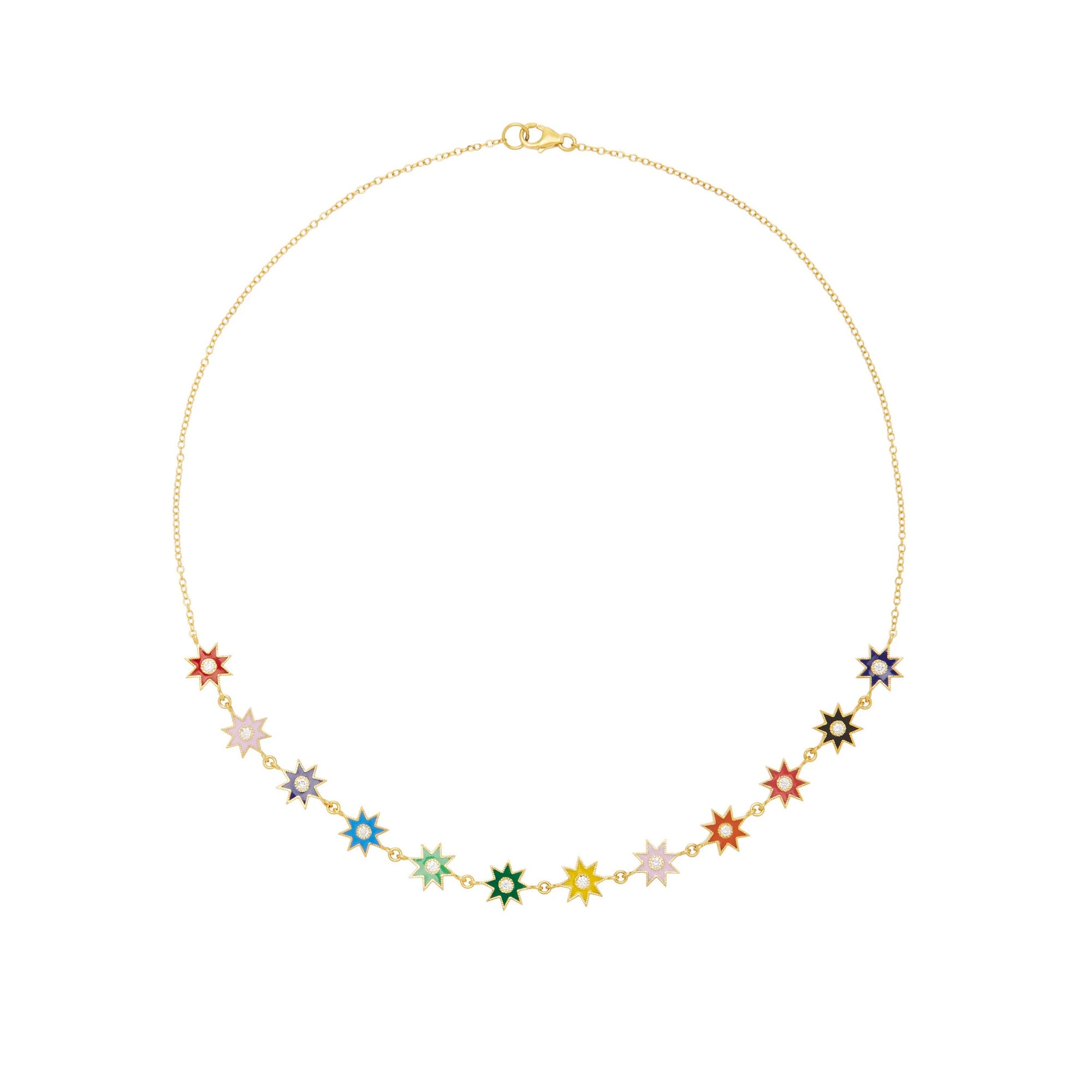 Multi-Colored Star Diamond Necklace
