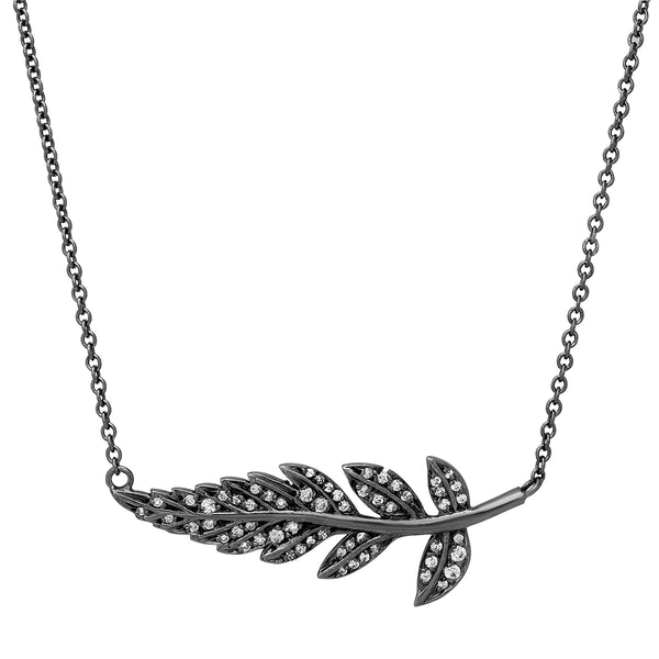 Feuille Tournée Necklace - Black