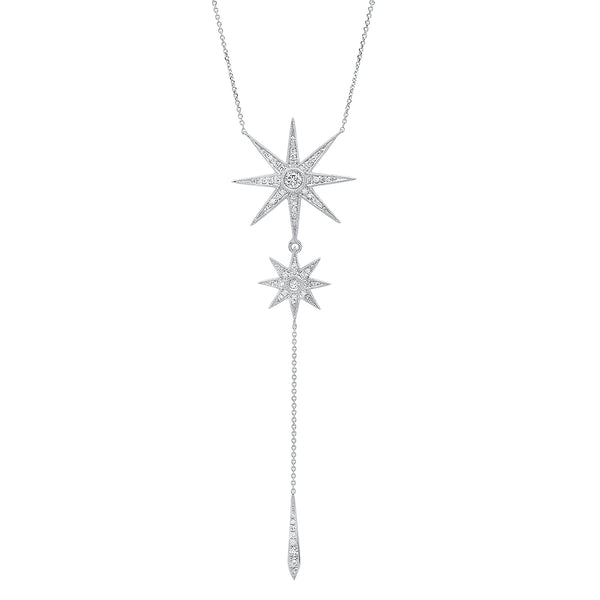Two Star Drop Necklace - Three Colors