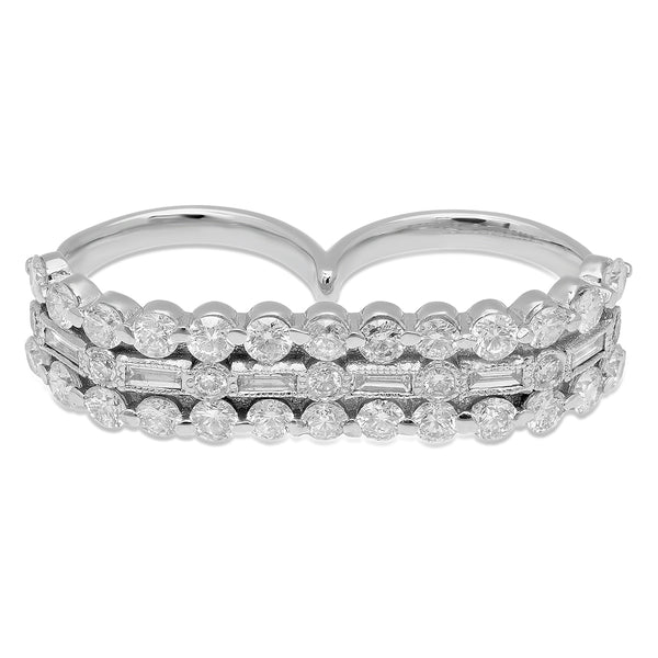 Bold Diamond Double Finger Ring