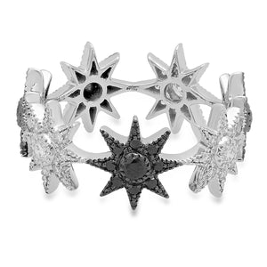 Black Gold Stars Infinity Ring