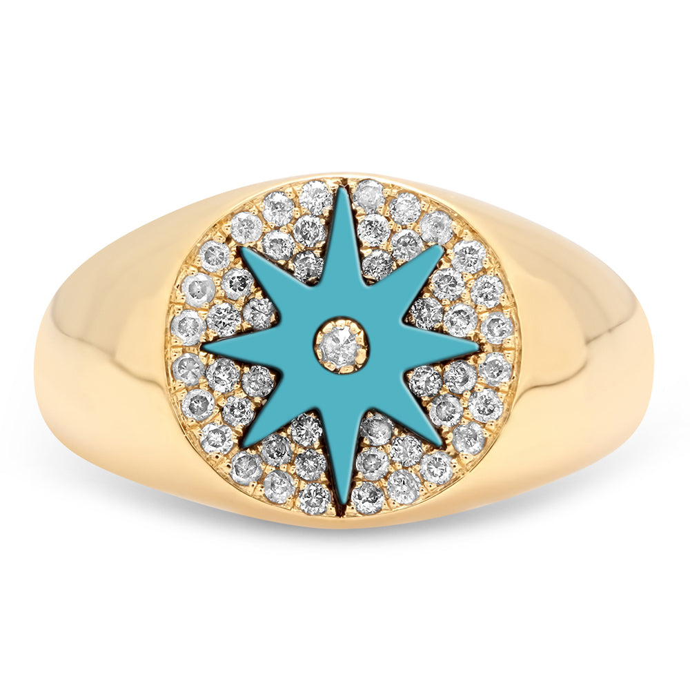 Enamel Star Signet - Eight Colors