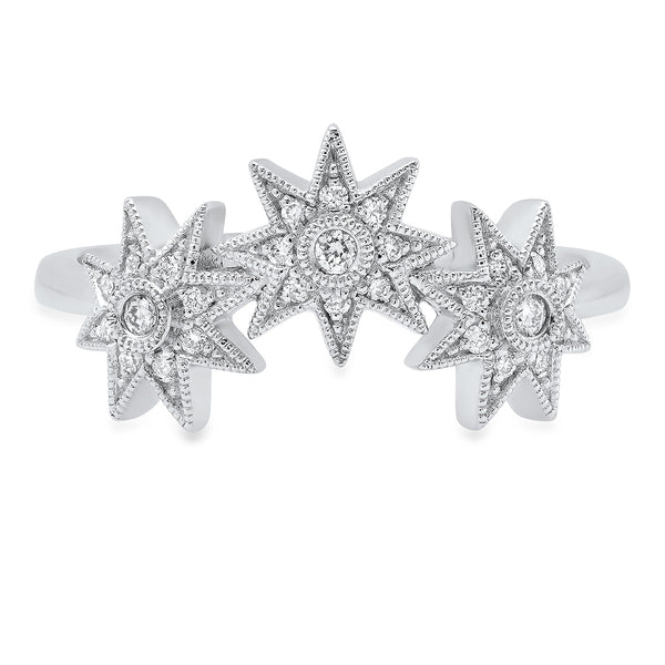 Curved Three Star Ring - Three Colors