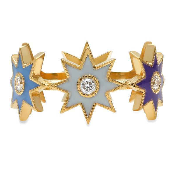 Twinkle Enamel Star Ring - Three Colors
