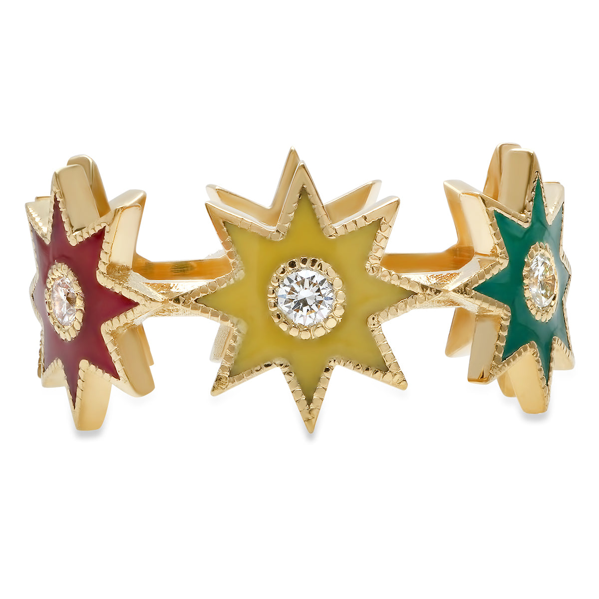 Twinkle Star Ring Yellow Gold - Three Colors