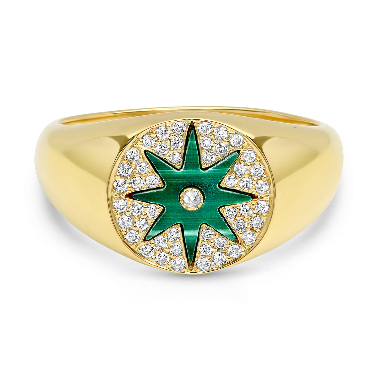 Star Signet Malachite Ring