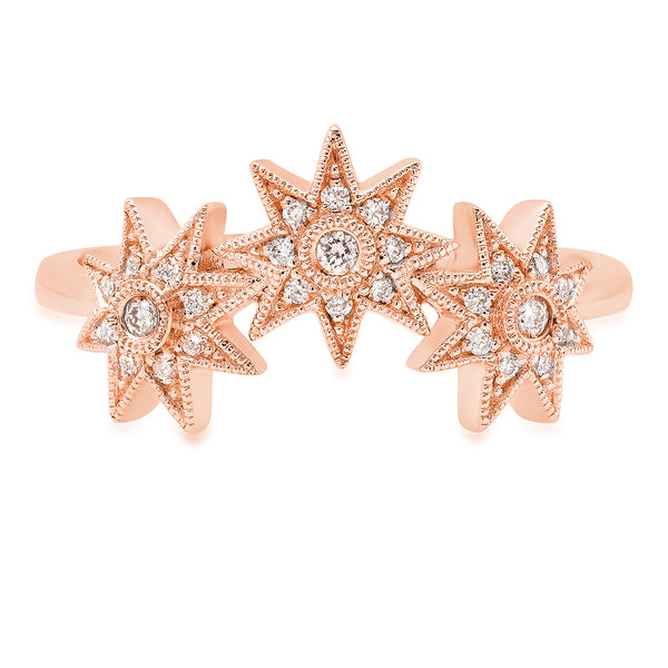 Curved Three Star Ring