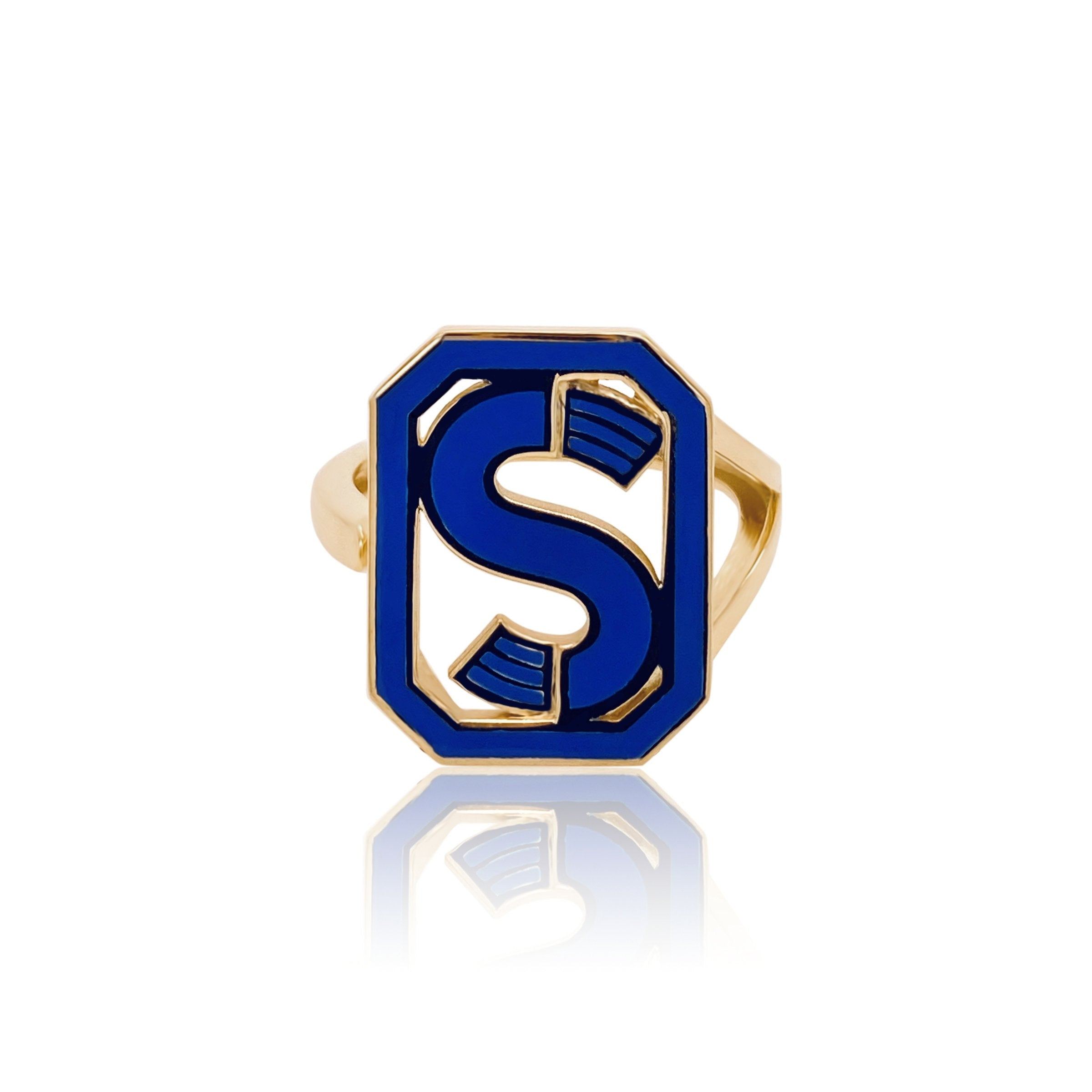 Gatsby Initial Ring - Fifteen Colors