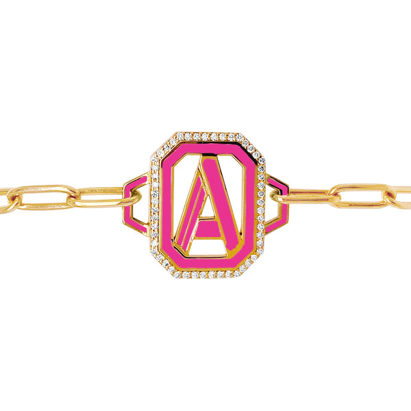 Gatsby Initial Bracelet - Fifteen Colors