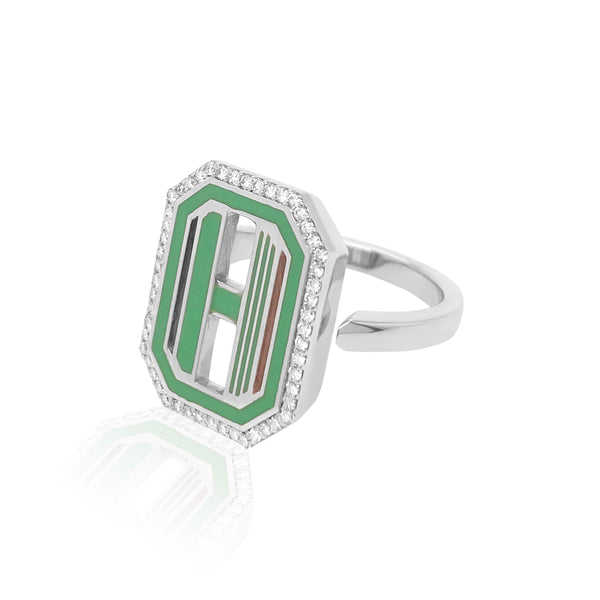 Gatsby Initial Ring with Diamonds