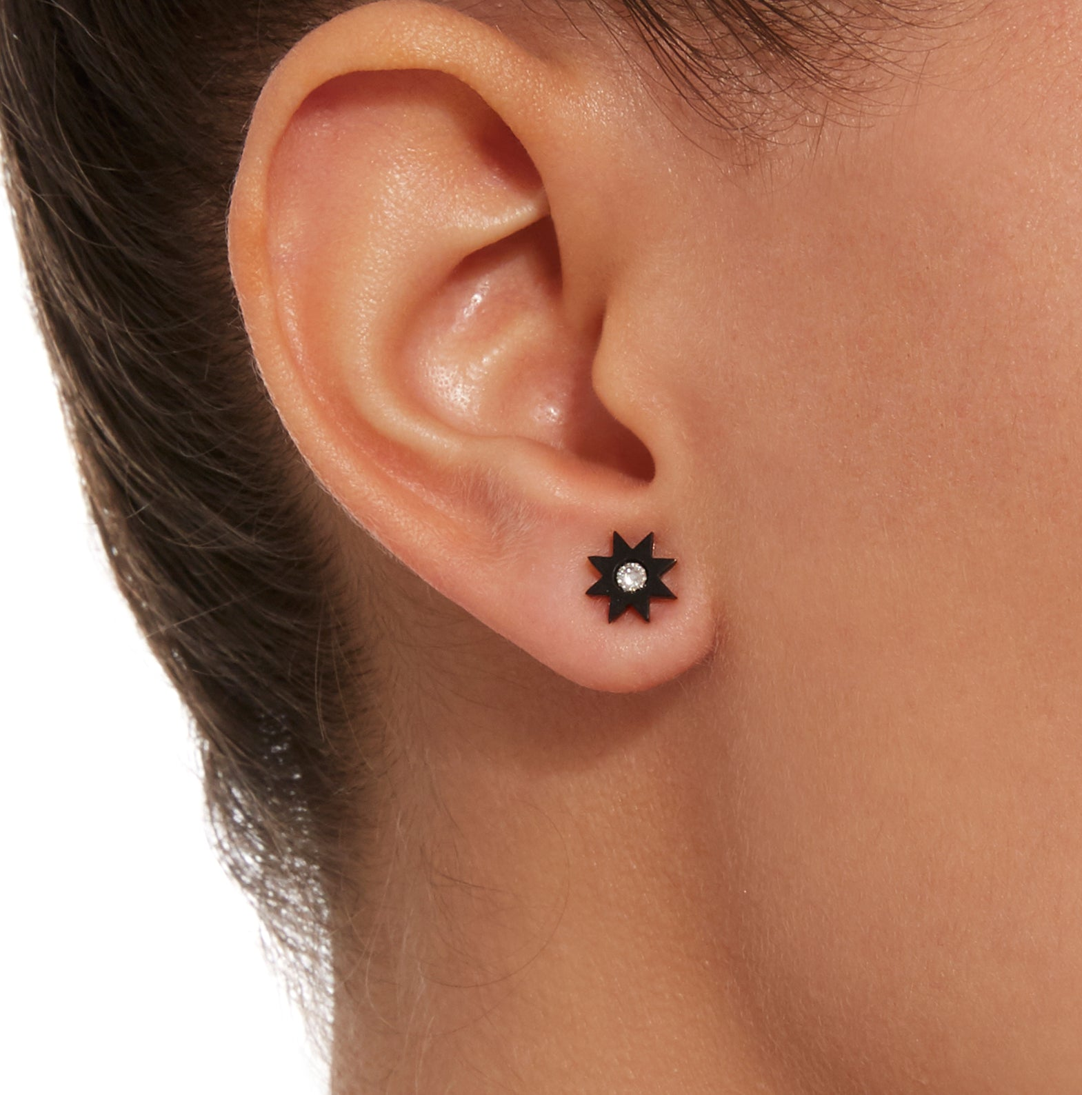 Hard Stone Star Studs White Gold - Three Colors