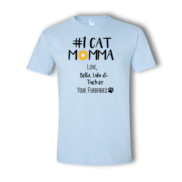 Personalized #1 Cat Momma Multi-Pet T-Shirt