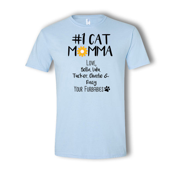 Personalized #1 Cat Momma 5 Pet T-Shirt
