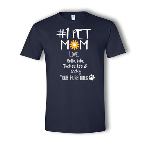 Personalized #1 Pet Mom 5 Pet T-Shirt