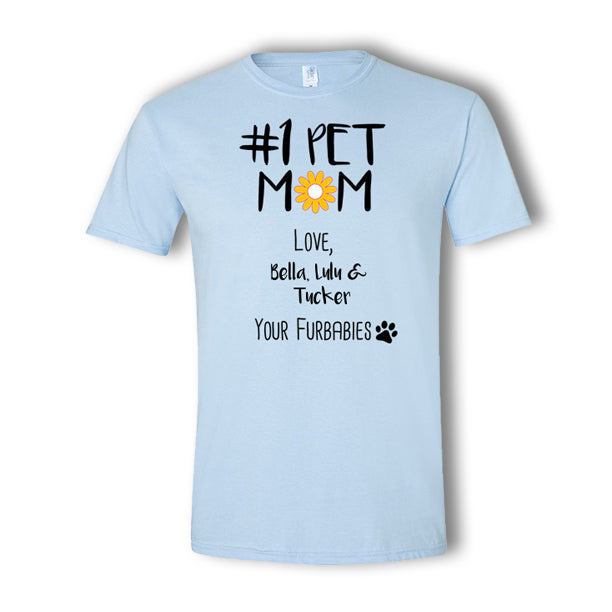 Personalized #1 Pet Mom Multi-Pet T-Shirt