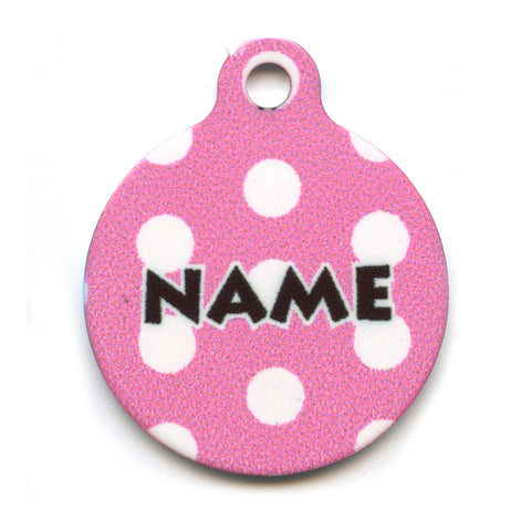 Pink Polka Dot Collar Tag