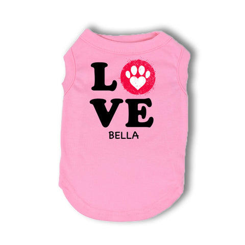 Personalized LOVE T-Shirt for Dogs (4 colors available)