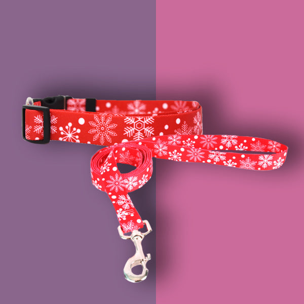 NEW! Personalized Winter Holiday Collar + Leash Bundles (7 designs available)