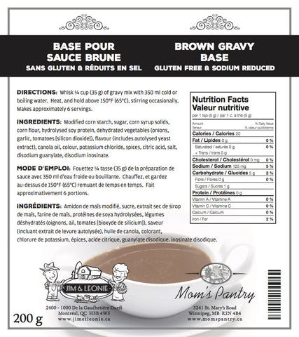 Brown Gravy Base  (Gluten Free & Sodium Reduced)