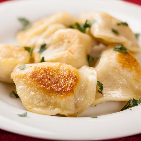 Potato & Cheddar & Bacon (simulated bacon bits) Pierogies