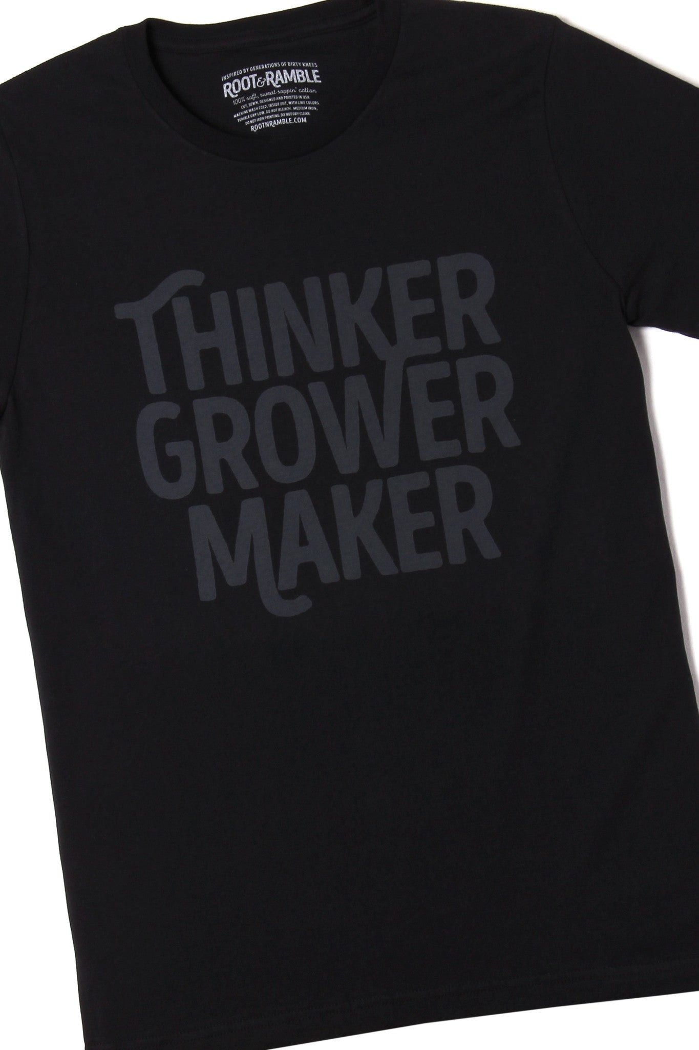 Letting Product Speak For Itself >> The Thinker Grower Maker T Shirt By Root Ramble Shop Online
