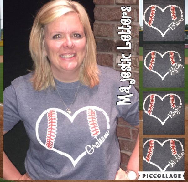 Tanks & Tees- Baseball heart- personalized