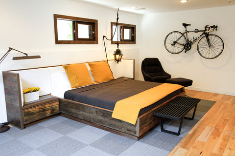 elise reclaimed wood bed with upholstered headboard and nightstands