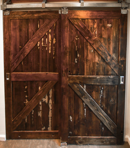 KAREN- Double Reclaimed Wood Barn Doors and Hardware