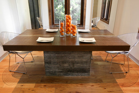 EDEN- Custom Concrete and Wood Dining Table Rectangular