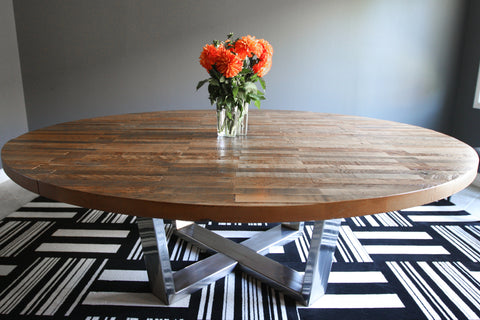 BEVIN  Custom Round Strip Wood Dining Table On Stainless Steel Base
