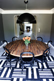 BEVIN- Custom Round Strip Wood Dining Table On Stainless Steel Base