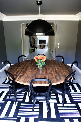 ... BEVIN  Custom Round Strip Wood Dining Table On Stainless Steel Base ...