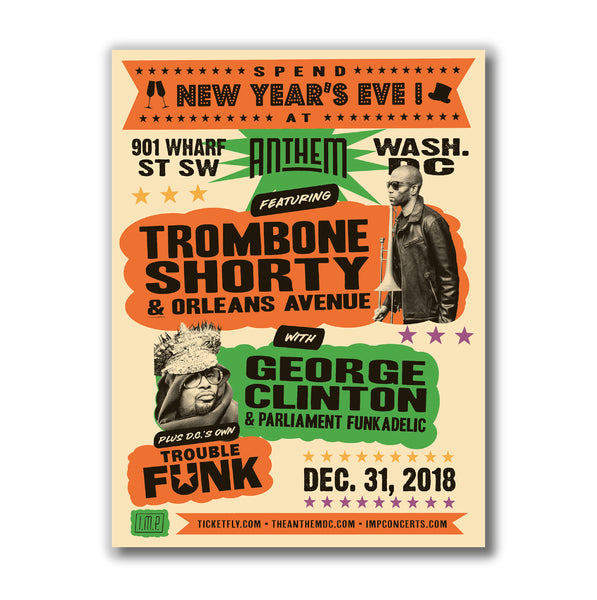 Trombone Shorty / George Clinton / Trouble Funk NYE 2018 Globe Screen Print