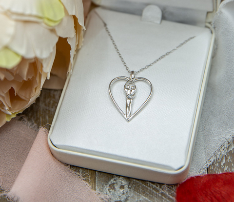 anniversary jewelry gift - silver heart - cubic zirconia necklace