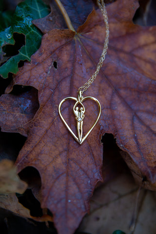soulmate heart necklace pendant in gold or silver