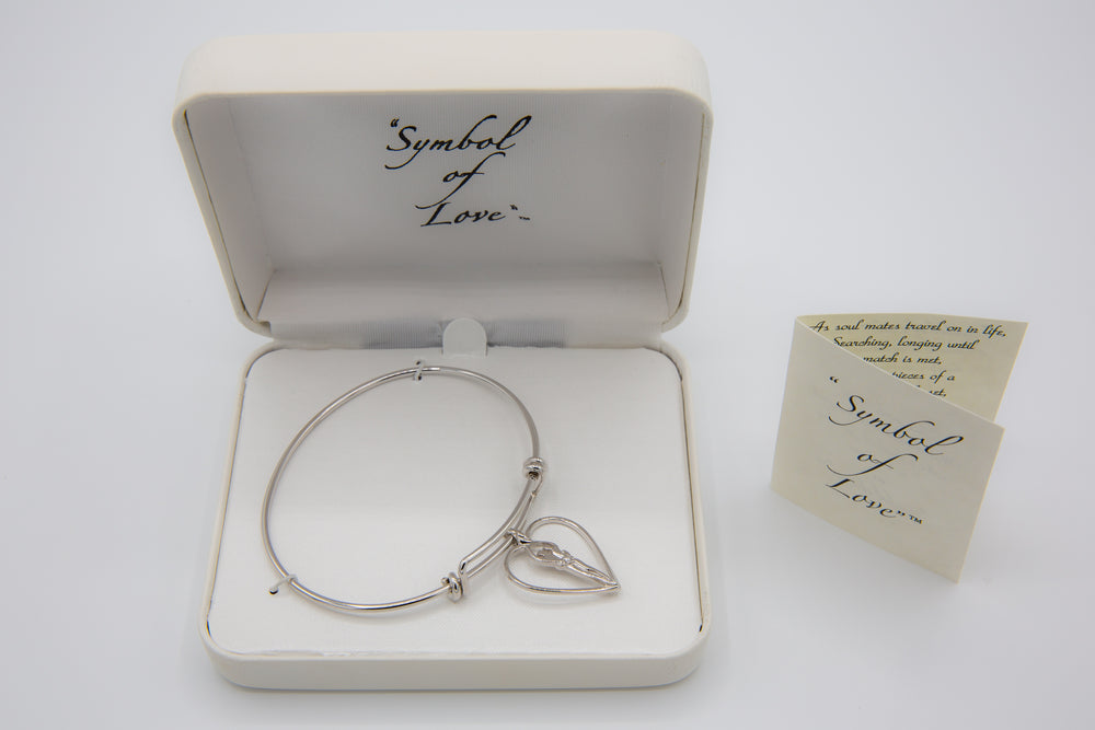 Soulmate Double Adjustable Bangle with Heart Charm