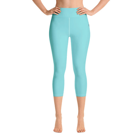 Wispy Teal Capri Yoga - Leggings