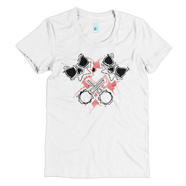 Crossed Pistons Skully Pink- Poly Cotton Girls Tee