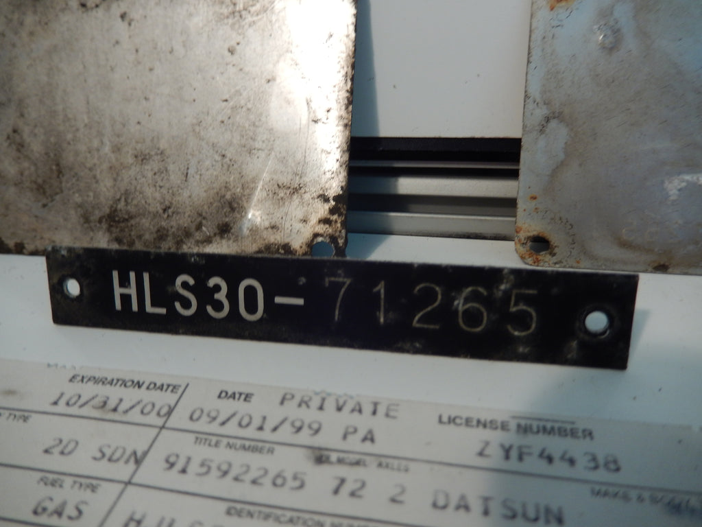 Datsun 240Z OEM Complete Original Legal Papers and Plates