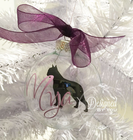 Personalized Floating Boston Terrier Ornament