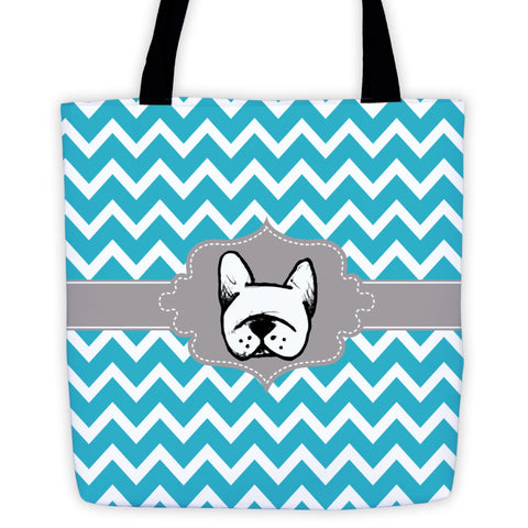 Teal Chevron French Bulldog Tote