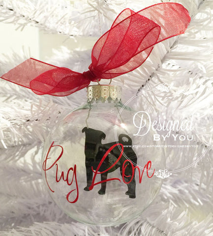 Personalized Floating Pug Ornament