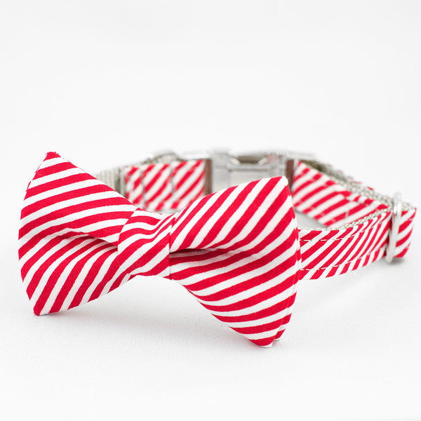 Collar with Bow Tie - Rover Candy Cane